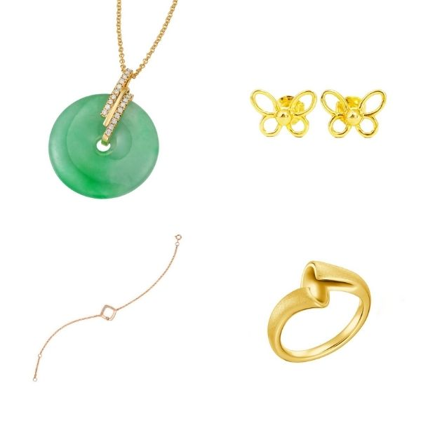 jade gold necklace, butteryfly ear studs, white gold bracelet and knot ring si dian jin set singapore