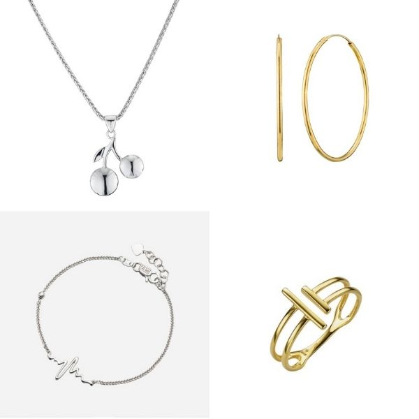 cherry white gold necklace, hoop earrings, heartbeat bracelet and stripe ring poh heng si dian jin set singapore