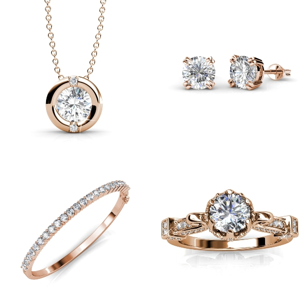 rose gold diamond necklace, earrings, bracelet and ring si dian jin set singapore