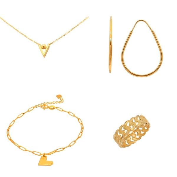 triangle necklace, water droplet shaped hoop gold earring, heart bracelet and gold ring si dian jin set taka jewellery singapore