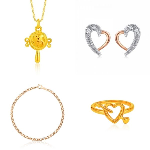 fu pendant necklace, swan earrings, gold bracelet and love struck pure gold ring si dian jin set singapore