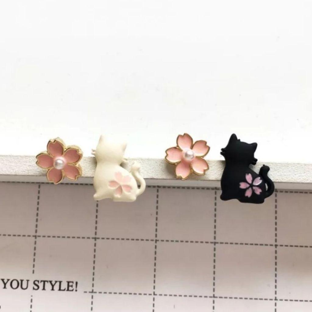 Sakura cat earrings
