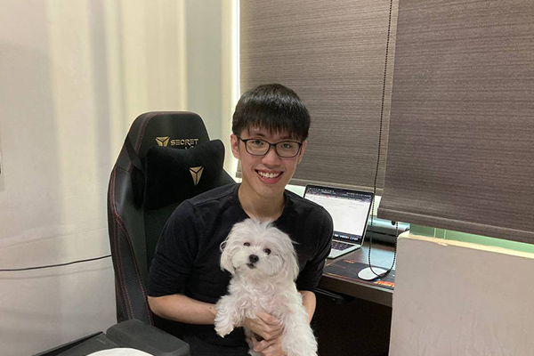 Bryan with his dog, Cotton