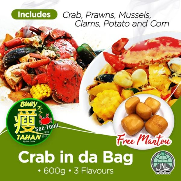 best zi char delivery buey tahan see food crab in da bag
