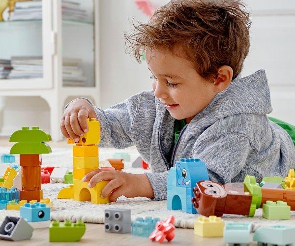 lego duplo kids playing with bricks animals