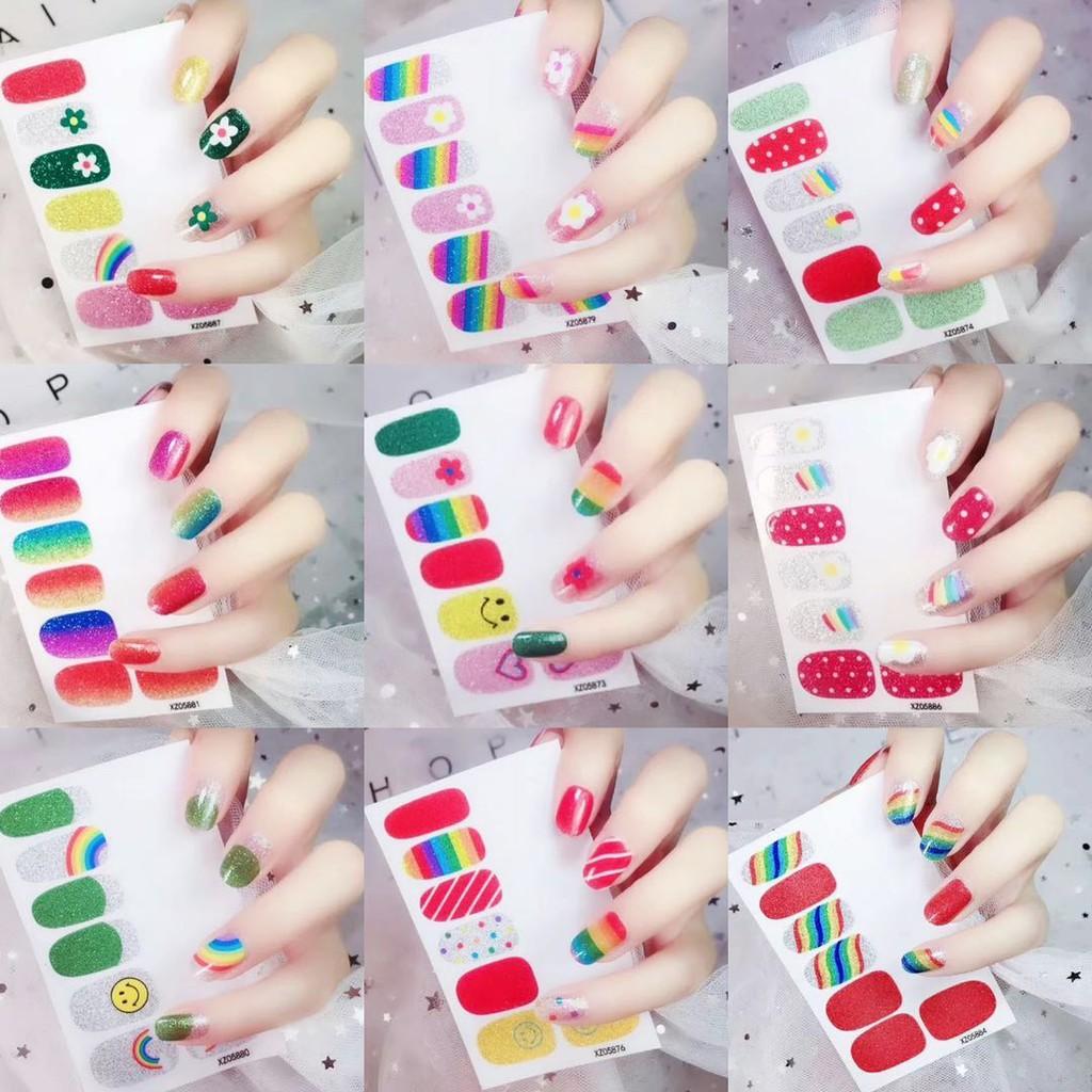 🌟SG Ready Stock🌟Rainbow Theme Nail Sticker Stickers Full Nail Wraps Decal Strips Adhesive False Nail Manicure Set   Shopee Singapore