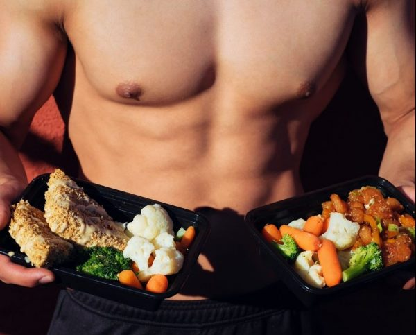 full body workout chest muscles abs six packs healthy food salad greens