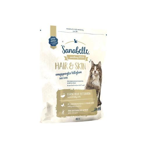 best cat food brand dry kibbles shiny fur coat Sanabelle Hair & Skin Dry Cat Food