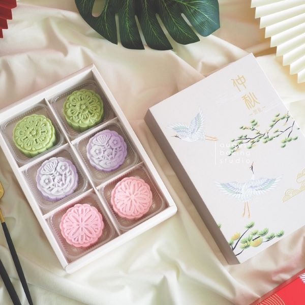 August Baking Studio Taro Yam Lotus Snowskin Mooncake, matcha green tea and azuki red bean