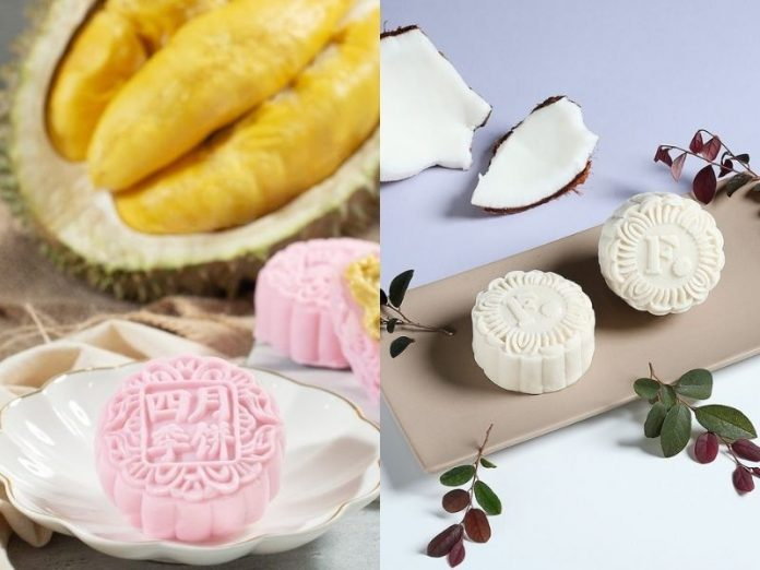 pink snowskin durian mooncake and white coconut snowskin mooncake