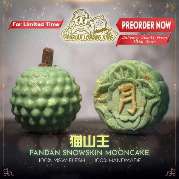 best durian snowskin mooncake durian lobang king mao shan wang green
