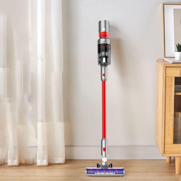 Airbot Supersonics Handheld Cordless Vacuum Cleaner orange purple against wall