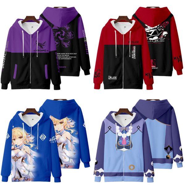 genshin impact hoodie purple red klee keqing
