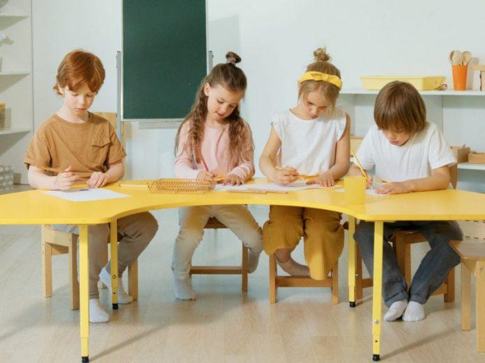 children's kids study desk best yellow learning