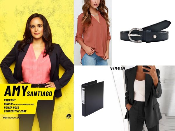 amy santiago brooklyn 99 outfit blazer set and pink shirt