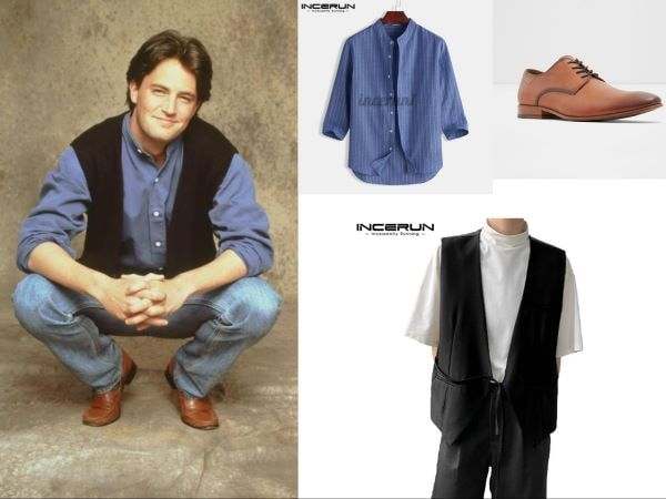 chandler bing friends outfit blue shirt, black vest and oxford shoes easy halloween costume