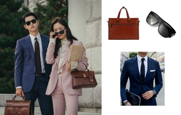 vincenzo outfit blue tuxedo leather bag and black sunglasses