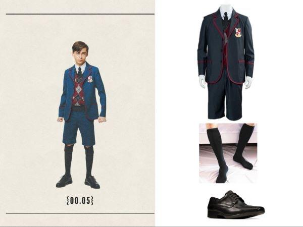 umbrella academy easy halloween costume five in uniform long socks and black shoes