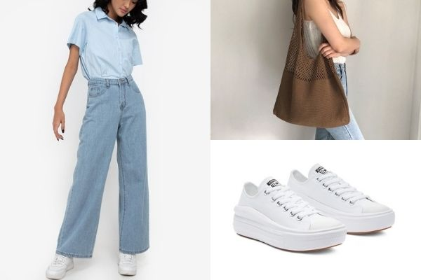 denim wide leg jeans, converse all white sneakers, mesh knit tote bag office outfits for ladies