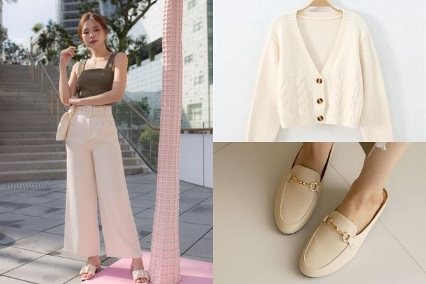 cream belted pants, knit cardigan and mules