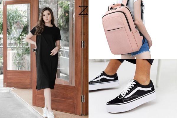 black midi slit dress, pink laptop backpack and vans black sneakers