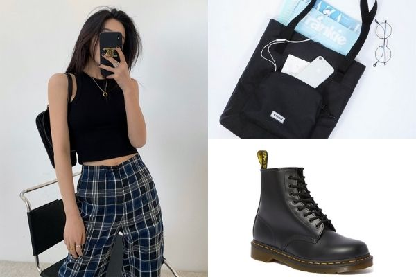 black round neck tank with checkered pants, black tote with side compartment and dr marten black boots 1460