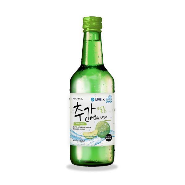bottle of honeydew soju